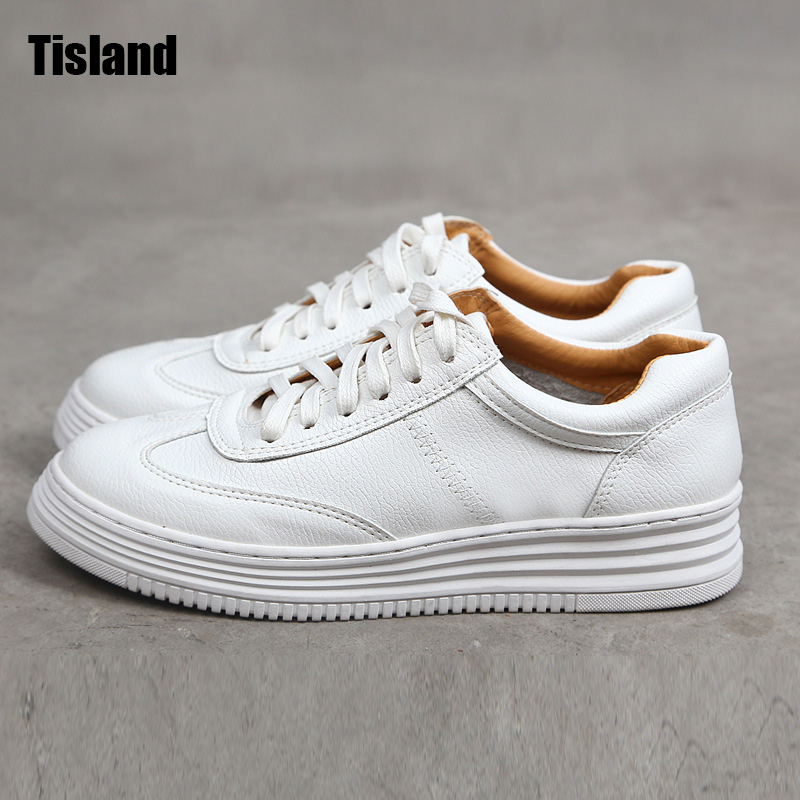 New Genuine Leather Shoes Women Flats Platform Thick Sole Pink White Shoes Fashion Breachable Sport Casual Shoes Plus Size 34~41 hot 2016 new ggdb women shoes golden goose superstar genuine leather blue casual shoes men women sport flats low cut g23d122 p1