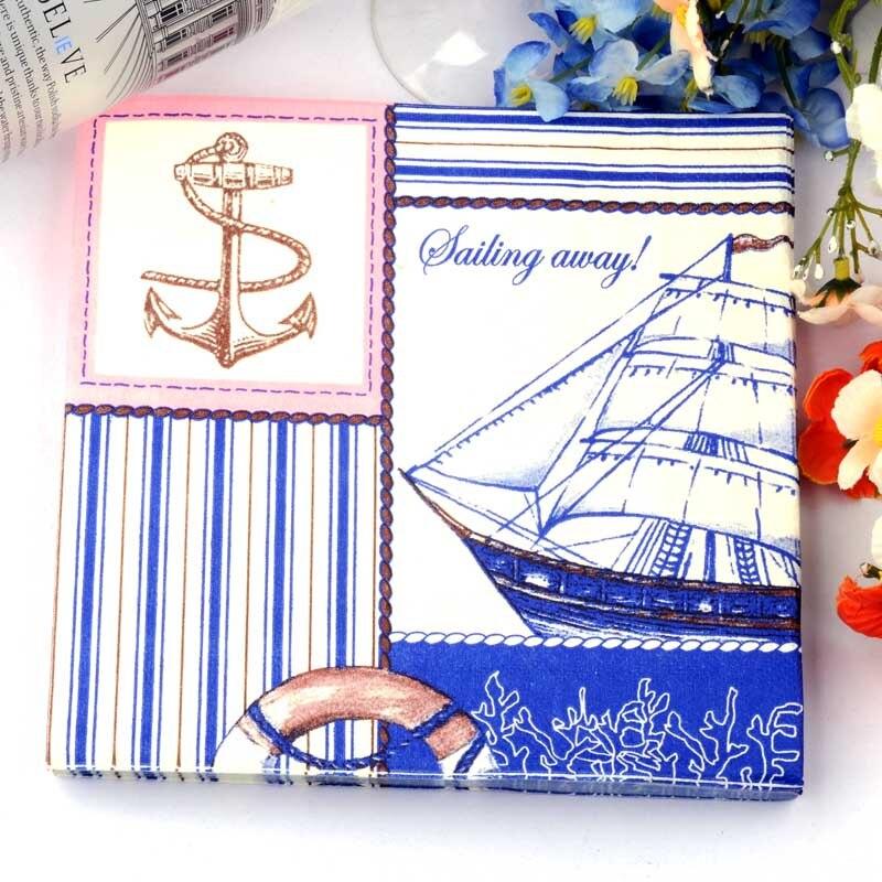 2018 Blue Sailboat Anchor Paper Napkin Festive & Party Tissue Napkin Supply Party Decoration Paper 33cm*33cm 20pcs/pack/lot