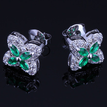 Sparkling Star Green Cubic Zirconia White CZ 925 Sterling Silver Stud Earrings For Women V0177 valuable round green cubic zirconia white cz 925 sterling silver stud earrings for women v0195