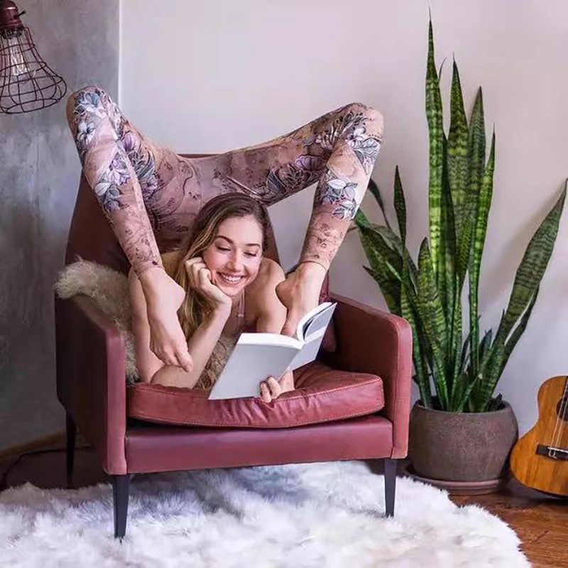 النساء مثير اليوغا السراويل المطبوعة الجاف صالح بنطال ملاصق للجسم مرونة اللياقة البدنية سراويل رياضية تجريب تشغيل ضيق الرياضة طماق الإناث السراويل