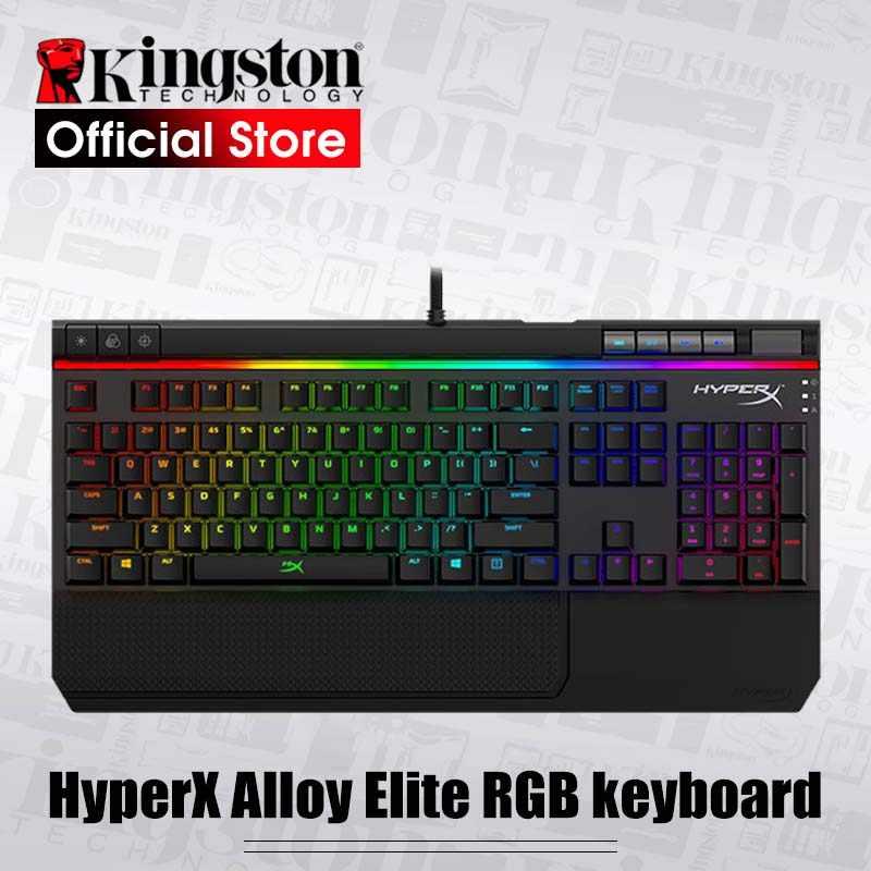 كينغستون HyperX سبيكة النخبة النخبة الطبعة الإلكترونية الرياضة لعبة لوحة المفاتيح الميكانيكية الأخضر محور الأحمر محور الشاي USB السلكية RGB الخلفية