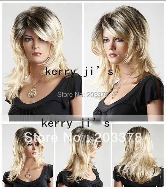 Capless High Quality Synthetic Medium Length Blonde and Black Fashion Curly Wig Free Shipping
