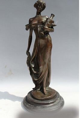 Copper Brass CHINESE crafts decoration Asian 12China Western Art sculpture Bronze Marble Belle Women Girl Vase Pot Statue