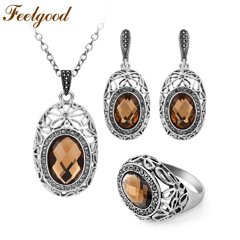 Feelgood Jewellery Vintage Silver Color Hollow Out Flower And Brown Glass Crystal Pendant Necklace Set Women Jewelry Sets vintage hollow out flower anklet for women