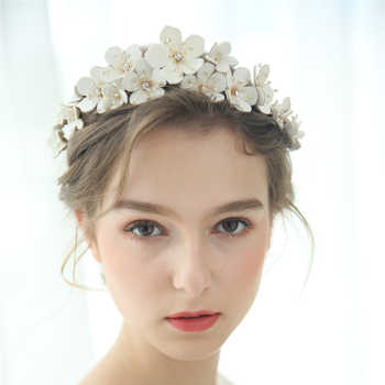 Leather Floral Bridal Crown Handmade Rhinestone Beaded Wedding Headband Party Prom Hair Jewelry Fashion Brides Hair Accessories - DISCOUNT ITEM  30% OFF All Category