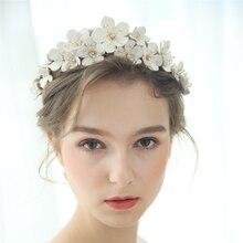 Skórzana kwiatowa korona ślubna Handmade Rhinestone ozdobiony paciorkami ślubny pałąk na imprezę bal biżuteria do włosów moda narzeczonych akcesoria do włosów