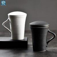 Teacup with Filter Japanese tea mug infuser and lid Heat Resistant Spiral Stripe mug for tea Retro Porcelain Large Capacity