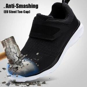 LARNMERN الرجال أحذية أمان وقائية البناء الصلب اصبع القدم الأحذية خفيفة الوزن 3D للصدمات العمل حذاء رياضة للرجال
