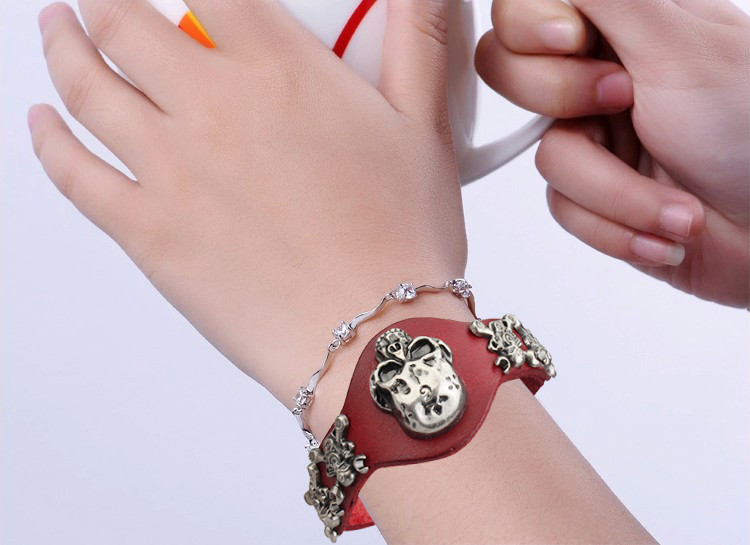 New Design Jewelry Multicolor Punk Rock Evil Skull Genuine Leather Wrap Bracelet for Women Men Ride Wristband Bracelets Cuff 12