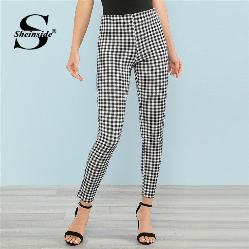 Sheinside Black And White Gingham Casual Pants Office Ladies Stretchy Regular Skinny Leggings 2018 Women Summer Elegant Pant