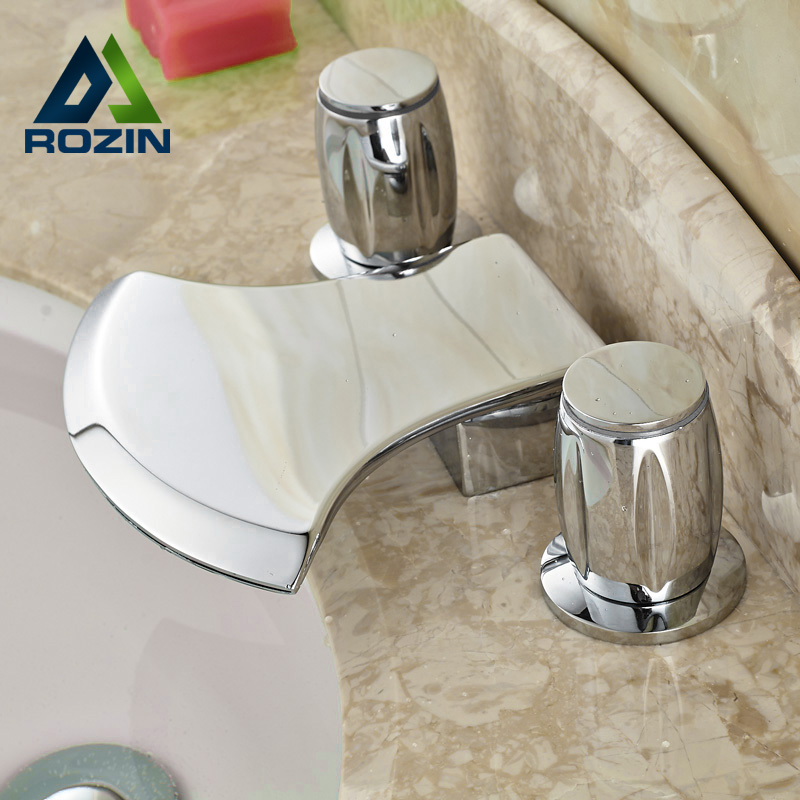Ax Shaped Bathroom Deck Mounted Basin Water Taps Dual Handle Brass Chrome with Hot and Cold Water Dual Handles ax shape waterfall basin faucet dual handle brass chrome bathroom mixes deck mount hot and cold tap