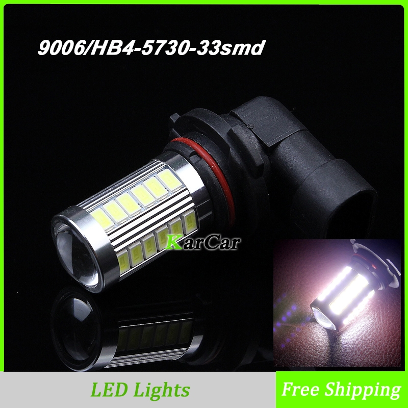 2PCS/Lot 9006 5730 33SMD LED Fog Lights, HB4 LED Bulbs Car LED Daytime Lights DRL Light High Bright Lamp White Free Shipping 1pcs car led dc12v h8 fog lamp bright led light bulbs drl 33 5630 smd with lens xenon white ice blue yellow 2z9