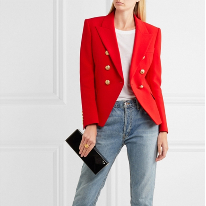 EXCELLENT QUALITY Stylish Designer Blazer For Women Double Breasted Lion Buttons Office Lady Blazer Jacket Plus Size S-3XL