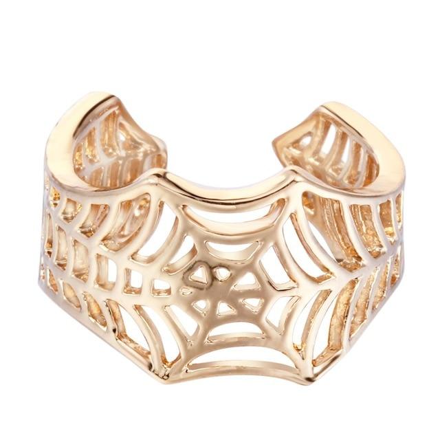 Anillos de Batman dorados y plateados hechos a mano con diseño de araña y cola de Animal, joyería de puzle, anillo con Círculo abierto Ajustable, bisutería al por mayor