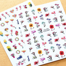 Newest CA-491 492 560 colorful flower pattern 3d nail sticker back glue decals template DIY decoration tools