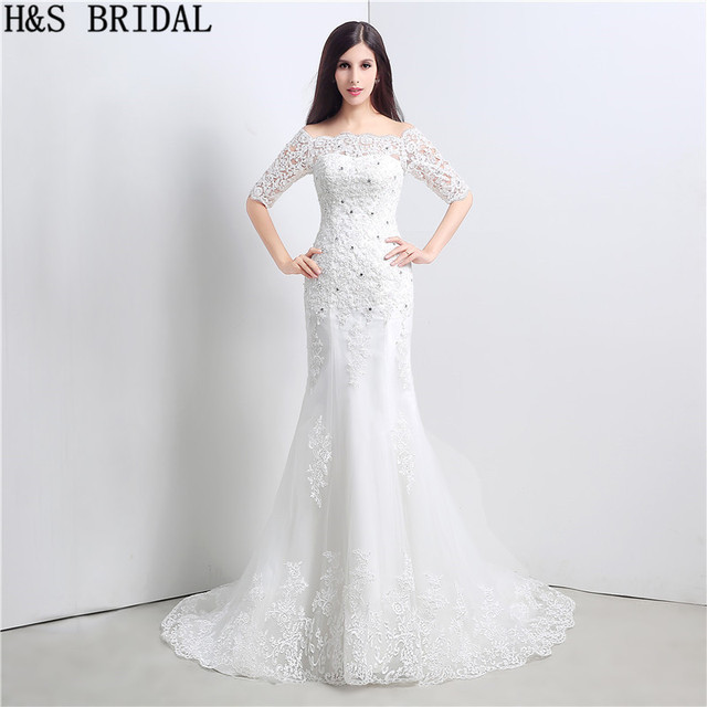 Short Sleeves Lace Mermaid Wedding Dresses Beaded Up Dress Off Shoulder Gowns