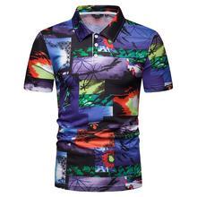Men Polo Shirt Beach style print Short sleeves Hip hop Summer Tops Streetwear Hawaiian