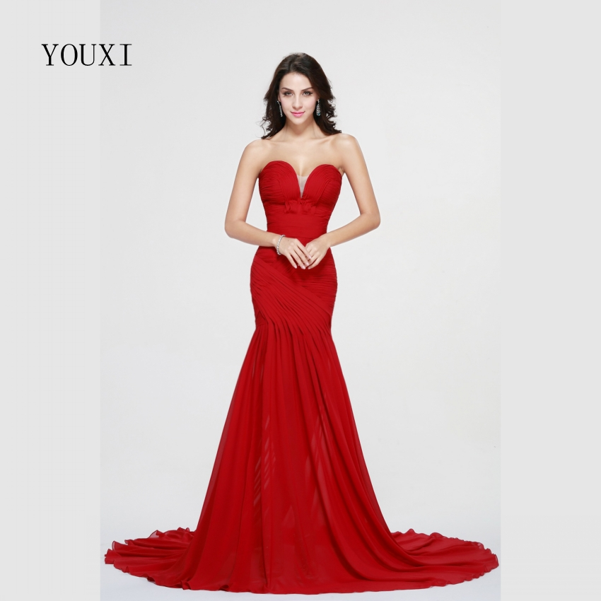 Red Chiffon Long   Prom     Dresses   2019 New Fashionable Sweetheart Sweep Train Formal Evening Gowns PD54