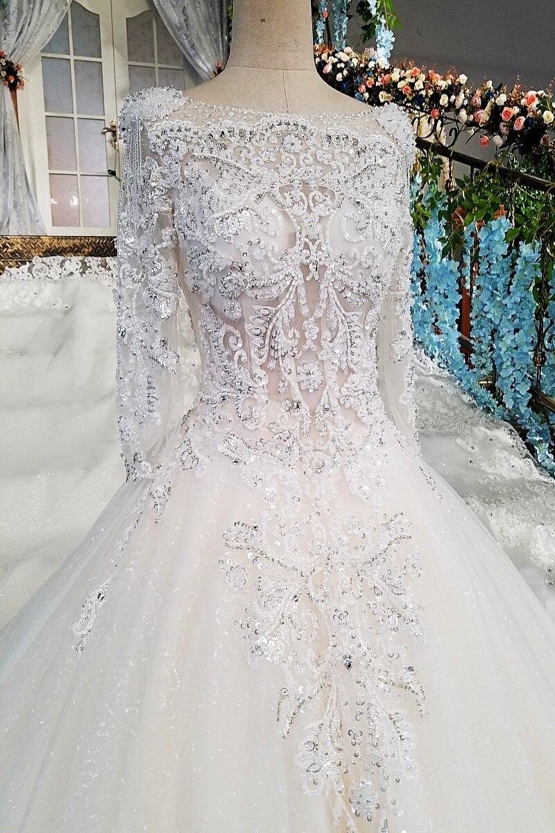 LS00213 vestido de noiva casamento backless appliques 3/4 mouwen kant - Trouwjurken - Foto 2