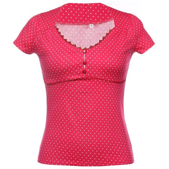Сексуальная точка печати старинные рубашки женщин летом v-образным вырезом Ruched грудь с короткими рукавами с красными кнопками плюс размер Новый 2018