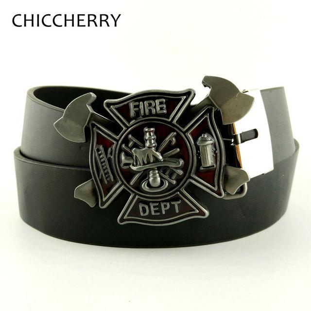 Cool Men's Black PU Leather Belt Firefighter Belt Buckle Fire Dept Buckles For Men Jeans Accessories Hebillas Cinturon Hombre