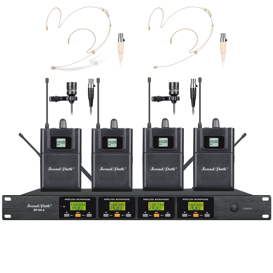 Soundpath professional wireless headset microfone wireless lavalier microfon four channel four headset four lavalier microphone