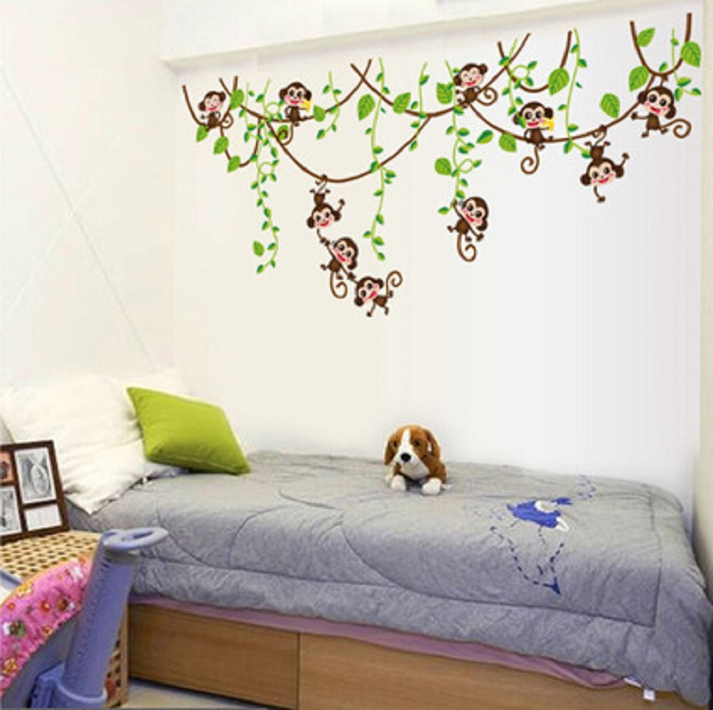 qunexc cute mini monkeys vinyl wall stickers decals children animal plants wallpaper mural girls kids home - Monkey Bedroom Decor