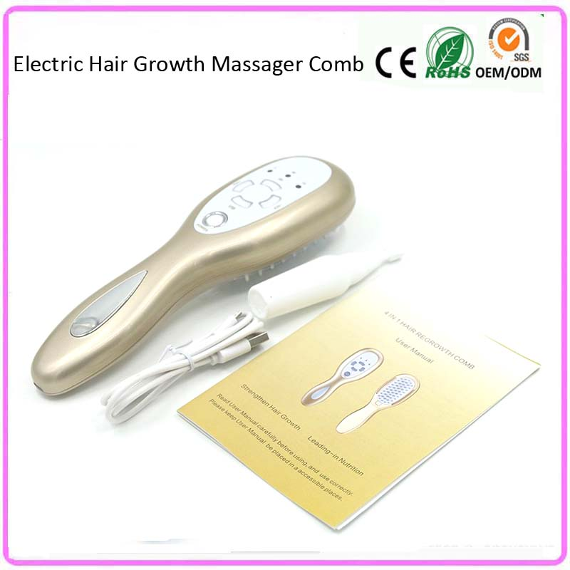 USB Rechargeable Hair Loss Treatment Vibrating Massager Comb With Infrared Ion Led Light Photon Therapy Follicle Stimulation free shipping 2016 new arrival usb rechargeable electric laser hair growth massager comb brush for hair loss treatment