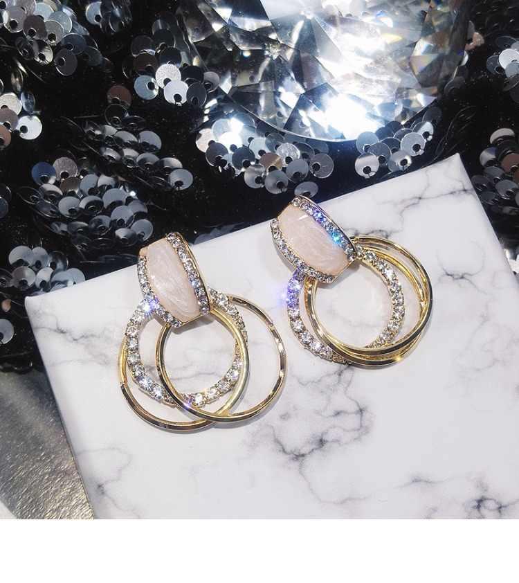 Новый дизайн модные Висячие Серьги Геометрические круглые блестящие серьги со стразами женские ювелирные изделия оптом