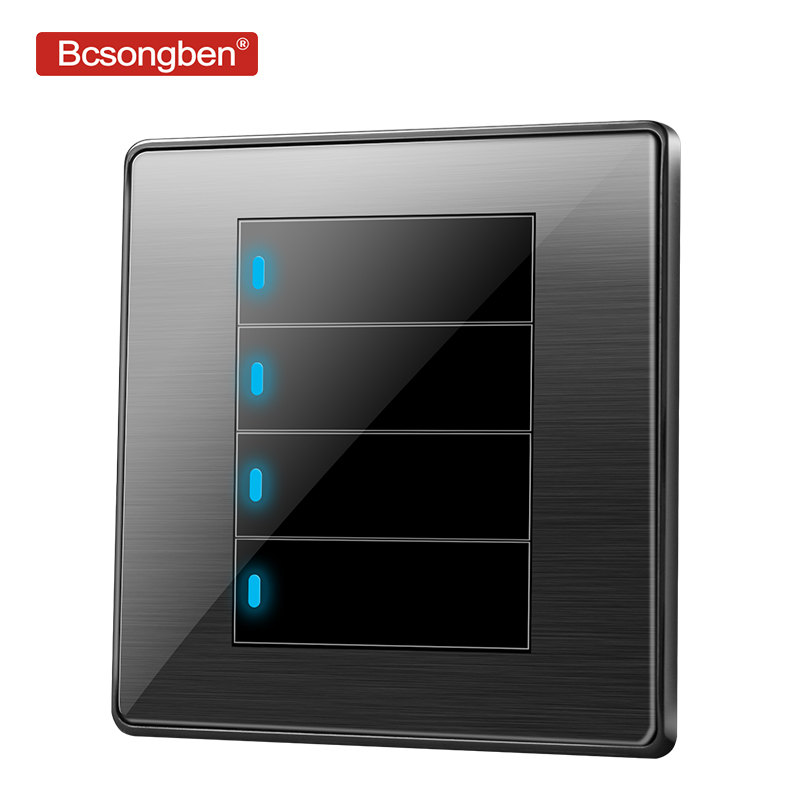 Bcsongben standard <font><b>switch</b></font> push button light <font><b>switch</b></font> wall Black stainless steel acrylic <font><b>4</b></font> <font><b>Gang</b></font> 1 Way <font><b>Switch</b></font> AC 110-250V kd1-4k1 image