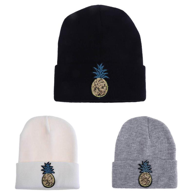 1 Piece Pineapple Embroidery Knitted Wool Ski Cap Men and Women Winter Warm Comfortable Stretch Beanies Skullies Hat Hip Hop europe and the united states men and women s hip hop witch embroidery knitted wool elastic beanies hat ski cap rx087