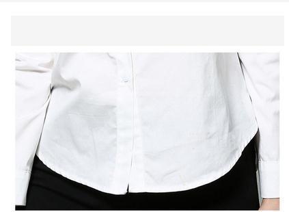Le printemps nouveau revers single-breasted patte broderie blanc à manches longues chemise femelle - 3