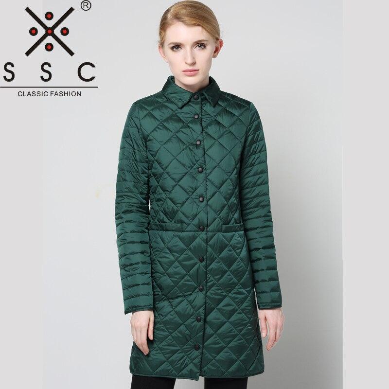 2018 Spring and Autumn Lattice Female   Parka   Lapel Pure Color Long Women Jacket Coat Fashion Slim Long Sleeves Thin   Parkas   7956