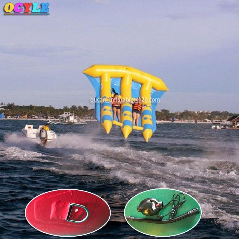 OCYLE envío aéreo gratuito + 1 bomba de aire, 6 personas/asientos inflables agua voladora banana Barco, juegos inflables de peces voladores