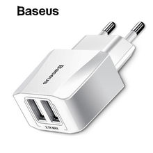 Baseus Dual USB Charger, Mobile Phone EU Charger Plug Travel Wall Charger Adapter For iPhone iPad Samsung Xiaomi Phone Charger(China)