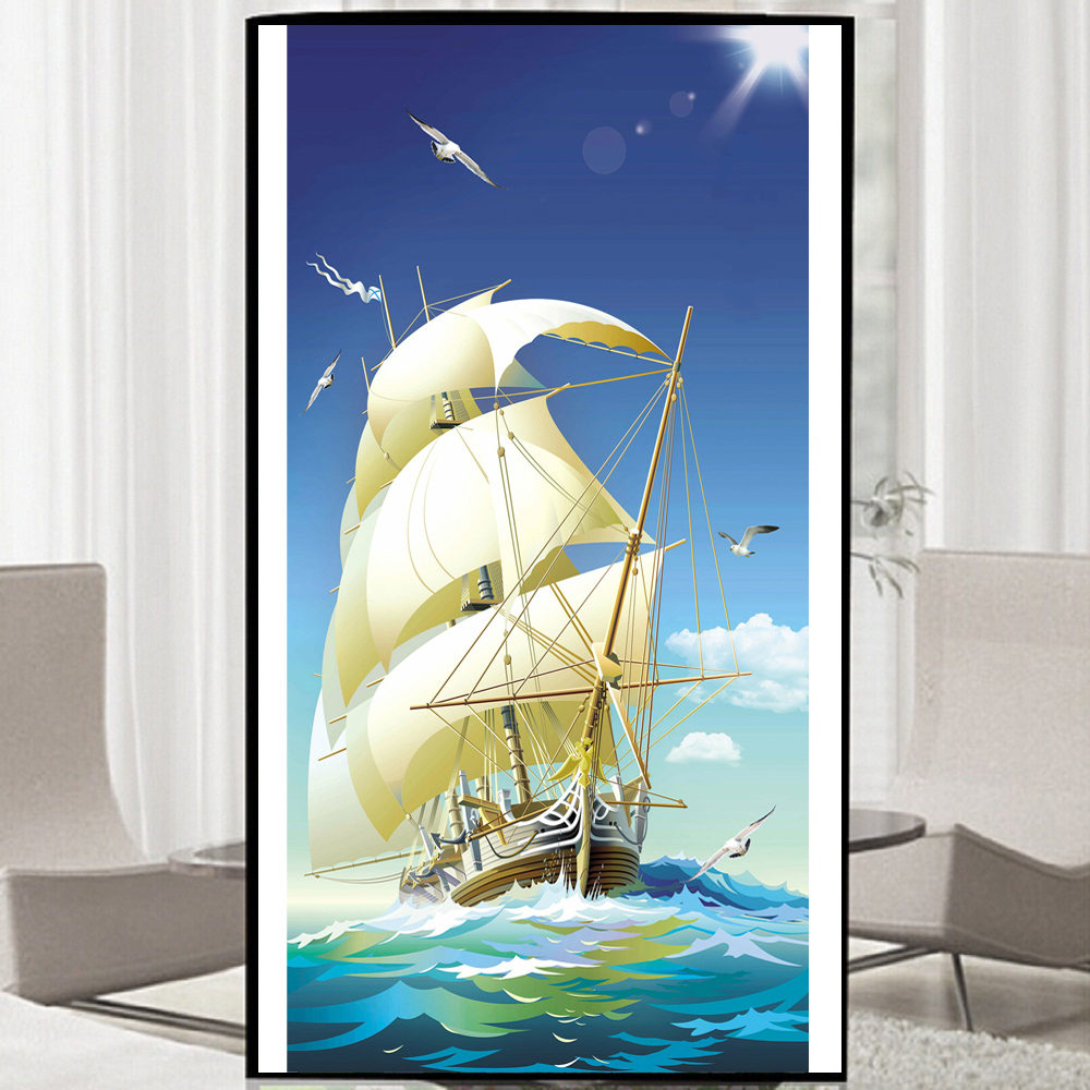 5D DIY Diamond embroidery Safe sailing boat pictures Decor Fully Resin round or square rhinestone needlework scenery Painting
