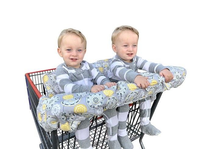 Двойная корзина для покупок для близнецов или детей. Гарантированно подходит для оптовых складских продуктовых магазинов. Такие как Costco - Цвет: Yellow Flower