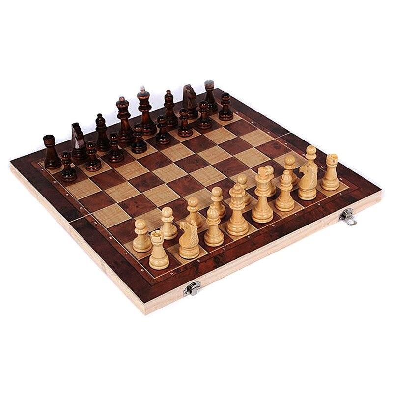 Новый Дизайн 3 в 1 деревянный Международный шахматы настольные путешествия игры шахматы, нарды шашки развлечения T30
