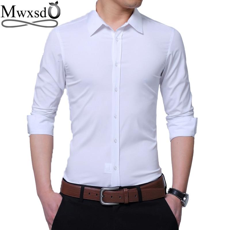 Romantic Mwxsd Brand Casual Mens Dress Shirt Men Slim Fit Long Sleeved Formal Shirt Male Social Shirt Plus 4xl 5xl Dress Shirt To Ensure A Like-New Appearance Indefinably Dress Shirts Men's Clothing
