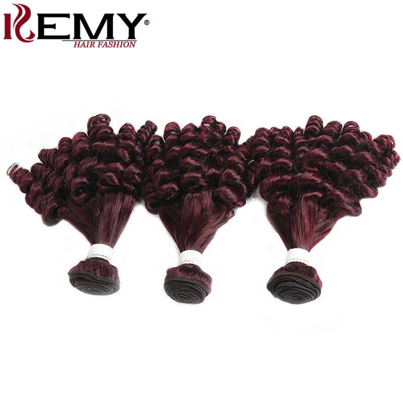 Funmi кудрявые Натуральные Рыжие волосы пучки 99J/бордовый бразильский Пряди человеческих волос для наращивания 1/2/3/4 шт. не Волосы remy ткет kemy hair