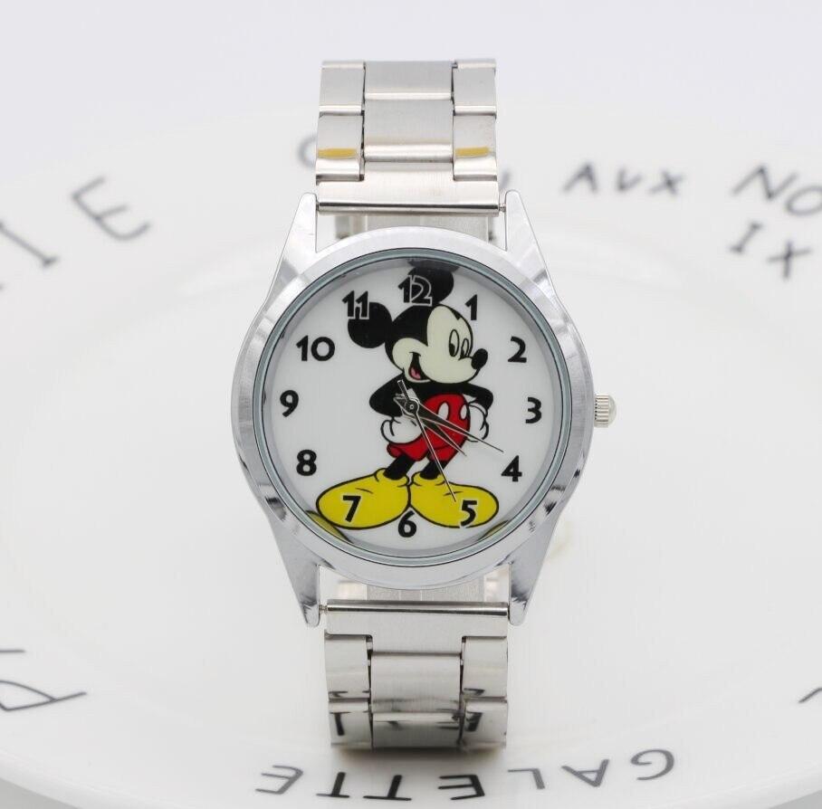 2018 Fashion Brand Mickey Mouse Newest Luxury Quartz Watch Lady SlimStainless Steel Mesh Strap Watch Women Clock Kobiet Zegarka