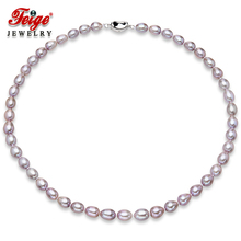 Genuine Freshwater Pearl Necklace 7-8mm Rice Shape Purple Freshwater Pearl Choker Necklaces For Women's Fine Pearl Jewelry 50cm freshwater natural pearl necklace women multi color genuine fine wedding pearl choker necklaces jewelry
