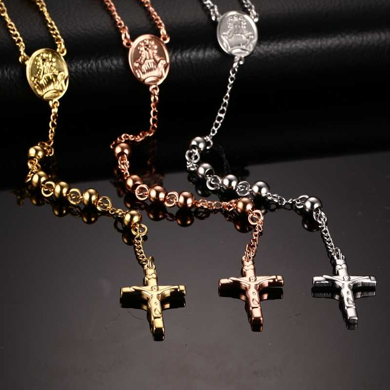 Men Women Vintage Rosary Beads Pendant Long Necklace Choker Jesus Christ Crucifix Cross Trendy Stainless Steel Unisex Jewelry