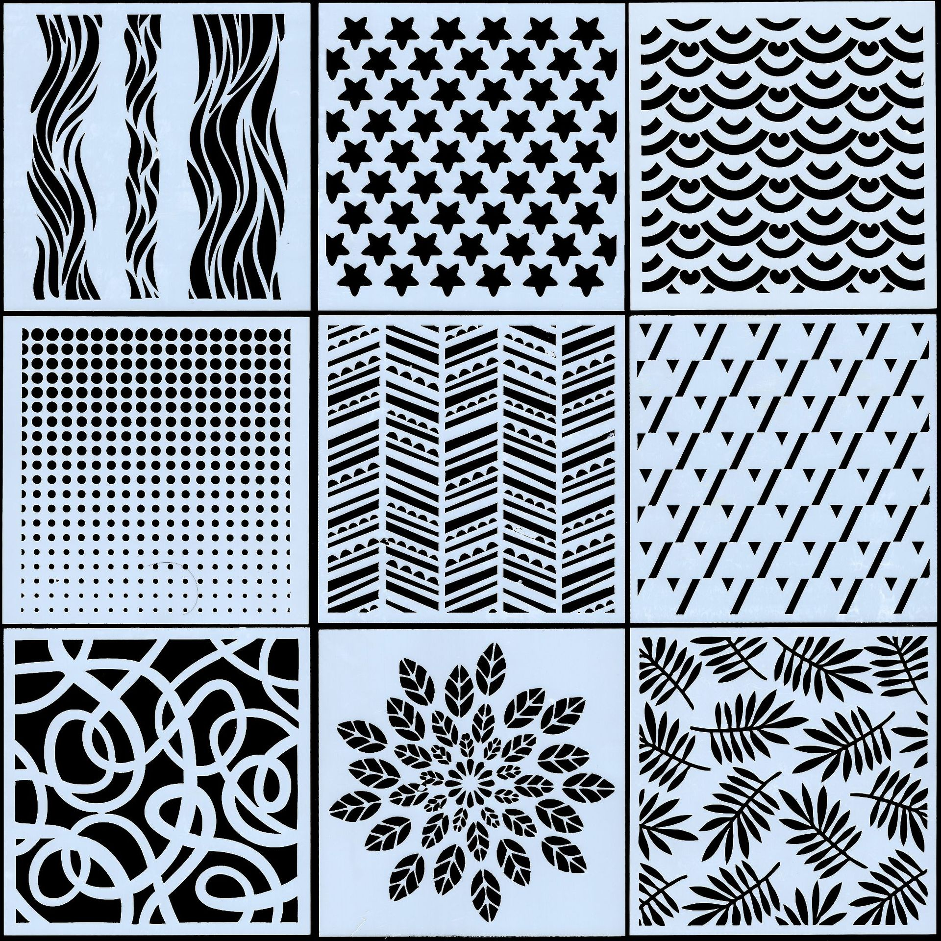9Pcs/Set 13cm Star Dot Wavy Texture DIY Craft Layering Stencils Painting Scrapbooking Stamping Embossing Album Card Template