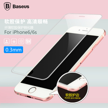 Original Baseus Transparent 6 Layer Flexible-glue edgings Tempered Glass Screen Protector Film for iphone 6s/6s plus 0.3mm 9H