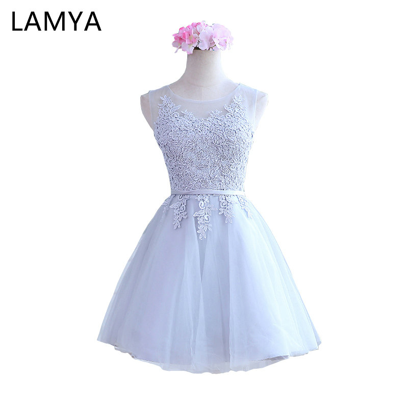 LAMYA Women 2019 Custom Size Elegant Lace O-Neck Off The Shoulder A Line   Prom     Dresses   Pure White Party   Dress   EV2720