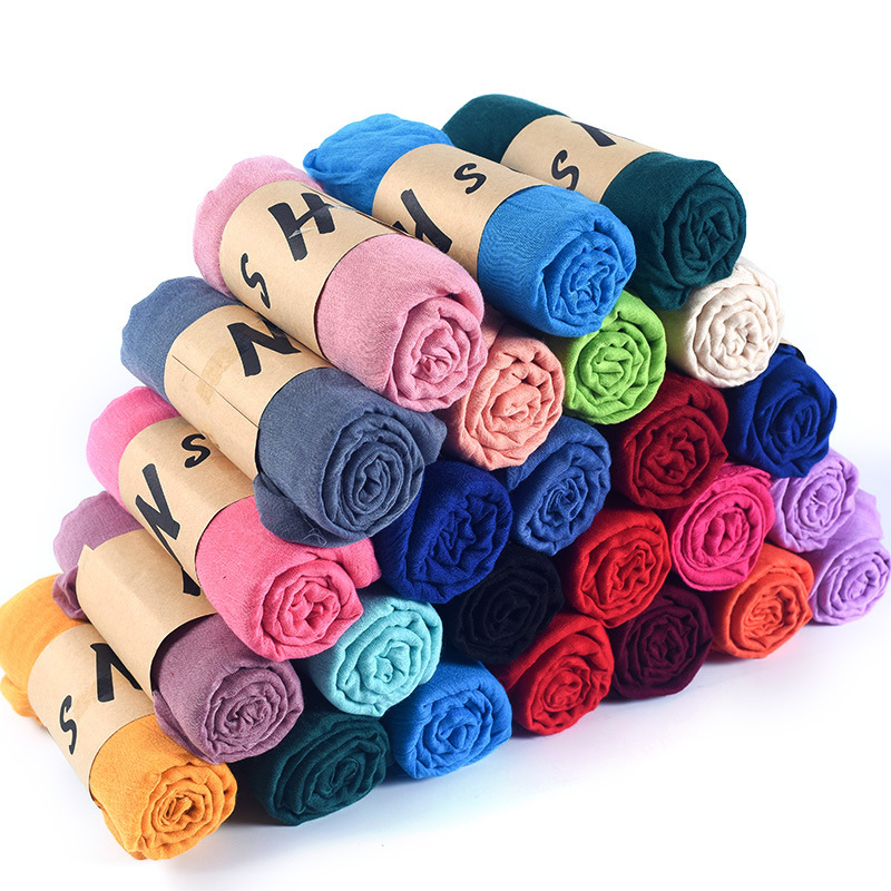 80*180cm Women Plain Cotton Scarf Long Soft Pashmina Shawls And Wraps Female Foulard Turkish Hijab Scarves Headscarf Big Stole