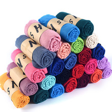 цена на 80*180cm women plain cotton scarf long soft pashmina shawls and wraps female foulard turkish hijab scarves headscarf big stole