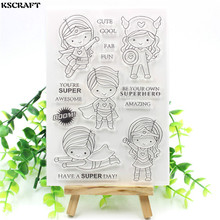 KSCRAFT Have A Super Day Transparent Clear Silicone Stamps for DIY Scrapbooking/Card Making/Kids Fun Decoration Supplies