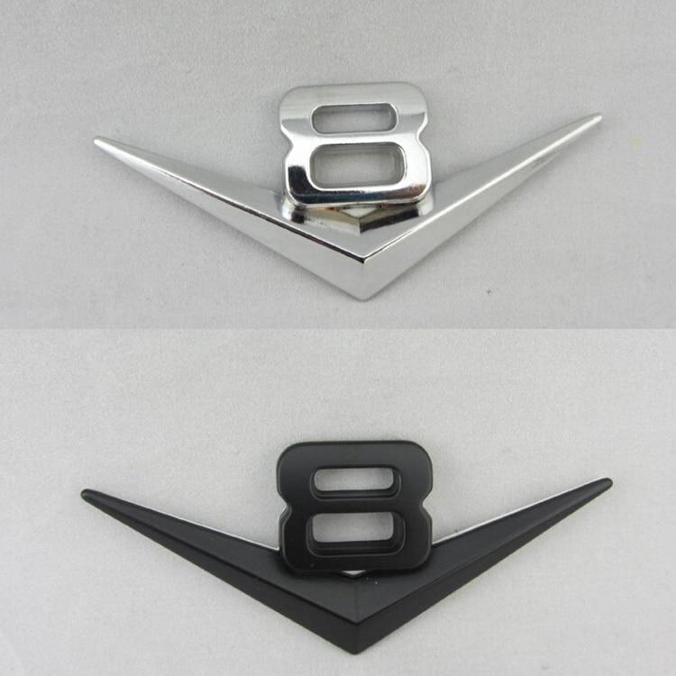 Autocollant de voiture V8 Logo noir argent | Autocollant de voiture en 3D, emblème adhésif en métal V8, emblème de décoration de voiture de style